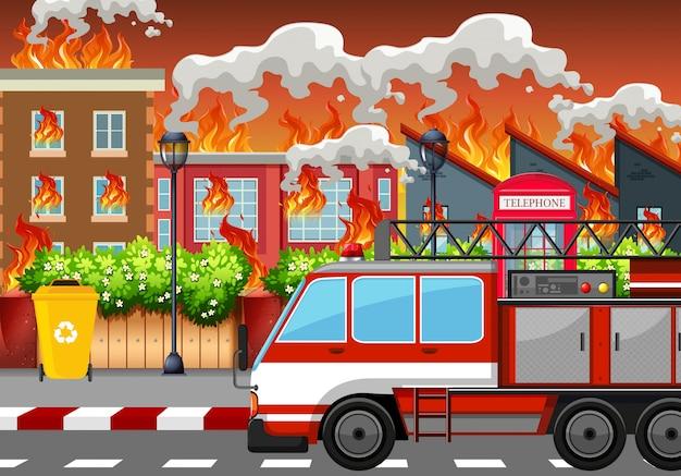 Un villaggio in fiamme Vettore Premium