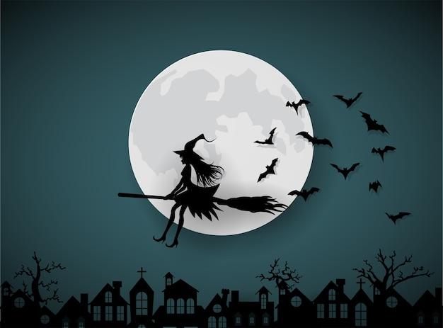 Un wicth cavalcando le scope nel cielo notturno Vettore Premium