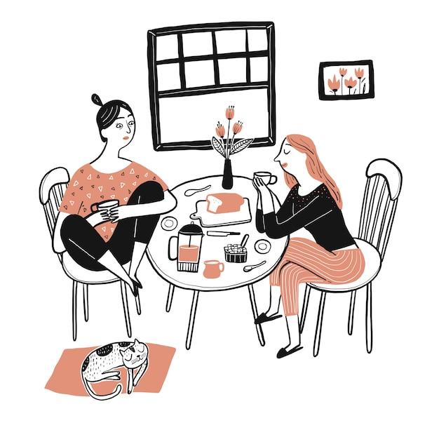 Una bella donna seduta e fare colazione Vettore Premium