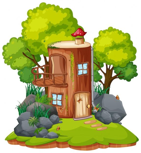 Una casa dei funghi fantastici Vettore Premium