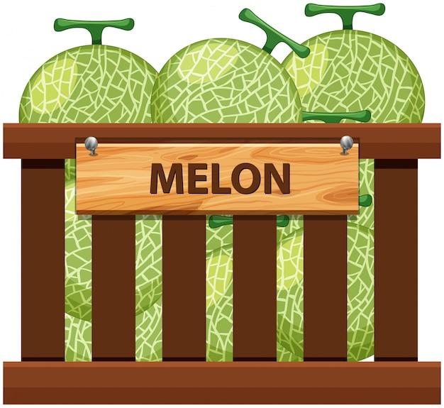 Una cassa di melone Vettore Premium