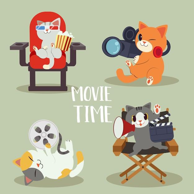 Una collezione di carattere di simpatico gatto con il concetto di film. gatto sta facendo il film e sono così felici. avere gatto come regista e cameraman. un simpatico gatto in stile vettoriale piatta Vettore Premium