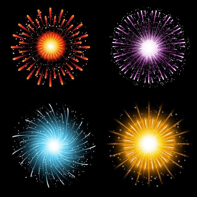 Una collezione di quattro vivaci esplosioni di fuochi d'artificio colorati Vettore gratuito
