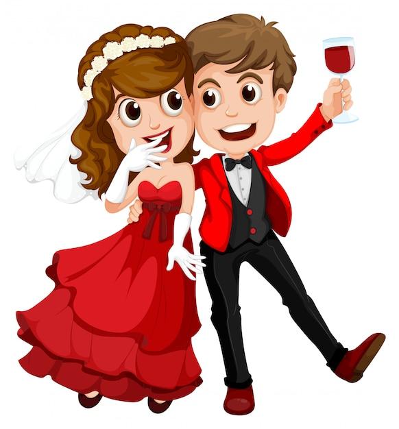 Una coppia che si è appena sposata Vettore gratuito