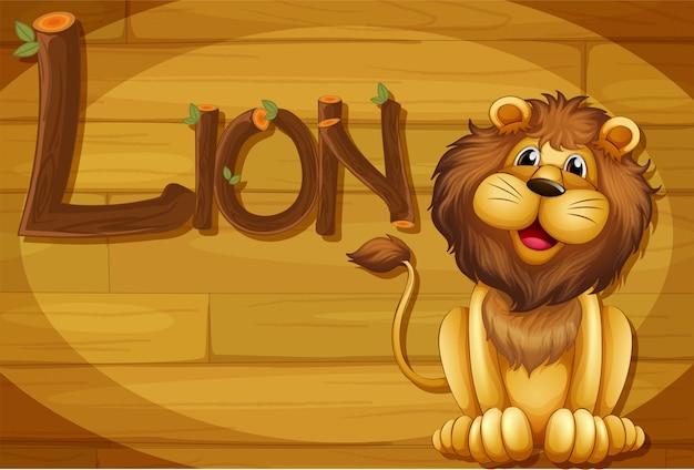 Una cornice di legno con un leone Vettore gratuito