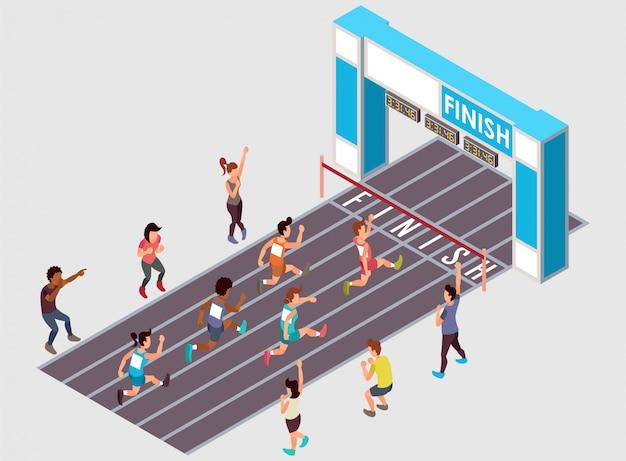 Una corsa corrente maratona con parecchio l'illustrazione isometrica dei partecipanti di genere Vettore Premium
