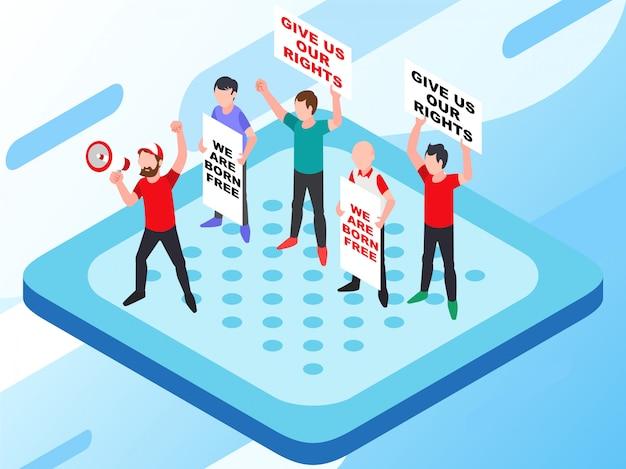 Una dimostrazione che protesta per il giusto problema umano con alcune persone che portano poster Vettore Premium