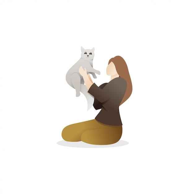 Una donna che tiene un gatto carino Vettore Premium