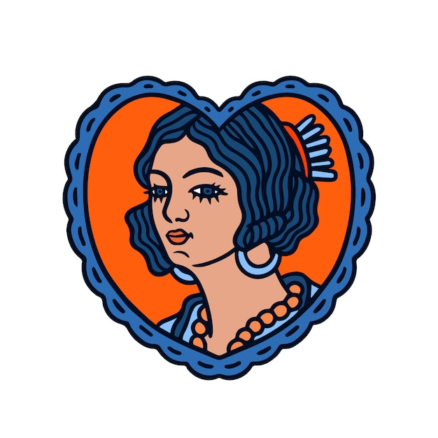Una donna in una cornice a forma di amore old school tattoo Vettore Premium