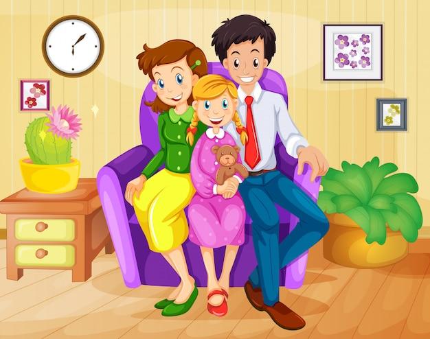 Una famiglia dentro casa Vettore gratuito