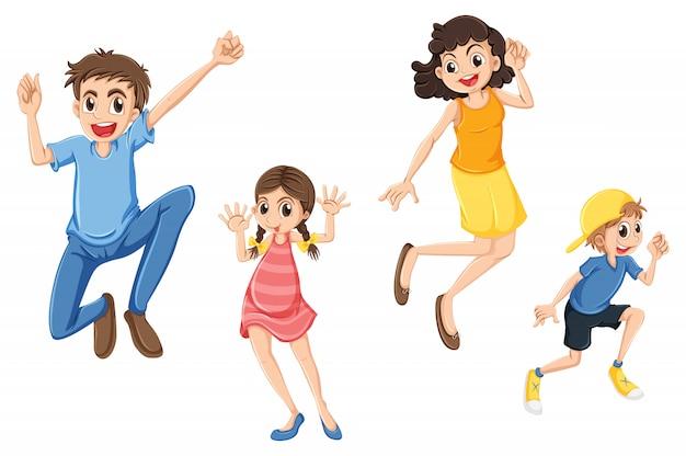 Una famiglia felice che salta Vettore Premium