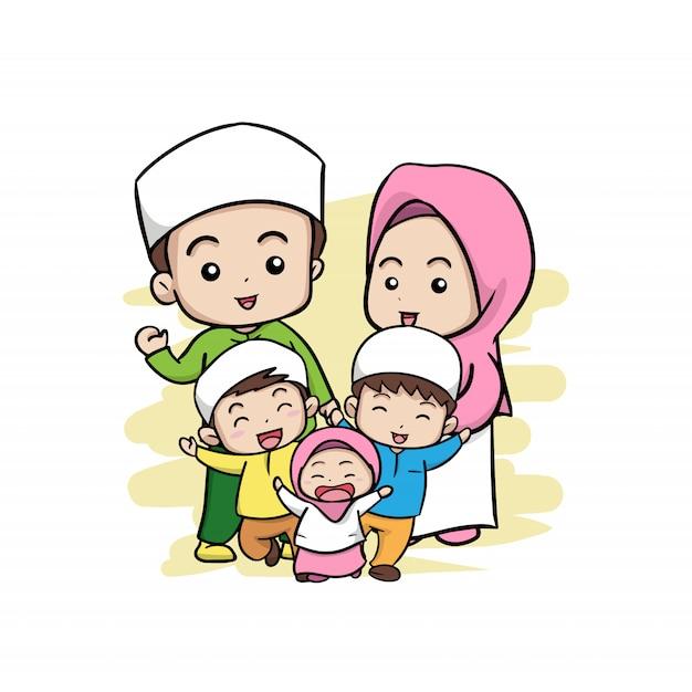 Una famiglia musulmana felice Vettore Premium