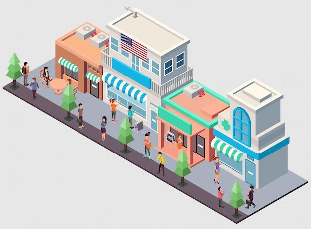 Una fila di vari negozi illustrazione isometrica Vettore Premium