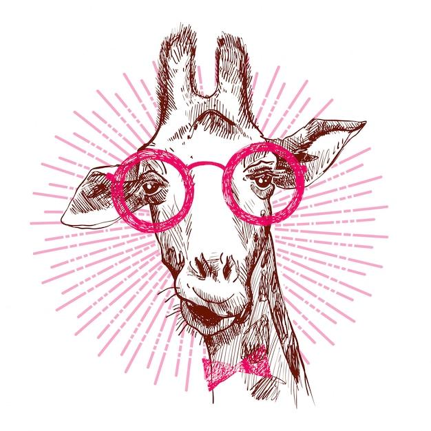 Una giraffa alla moda hipster. Vettore Premium
