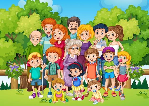 Una grande famiglia al giardino Vettore gratuito