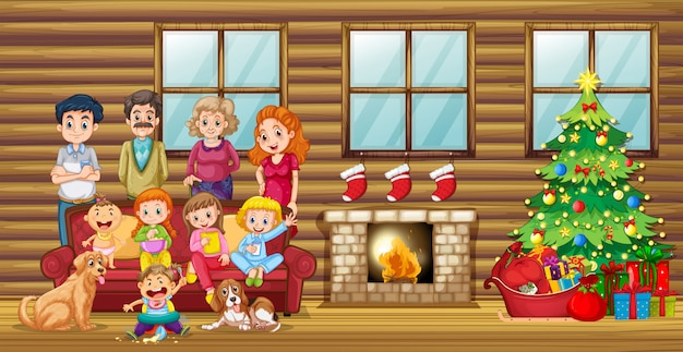 Una grande famiglia nel soggiorno Vettore gratuito