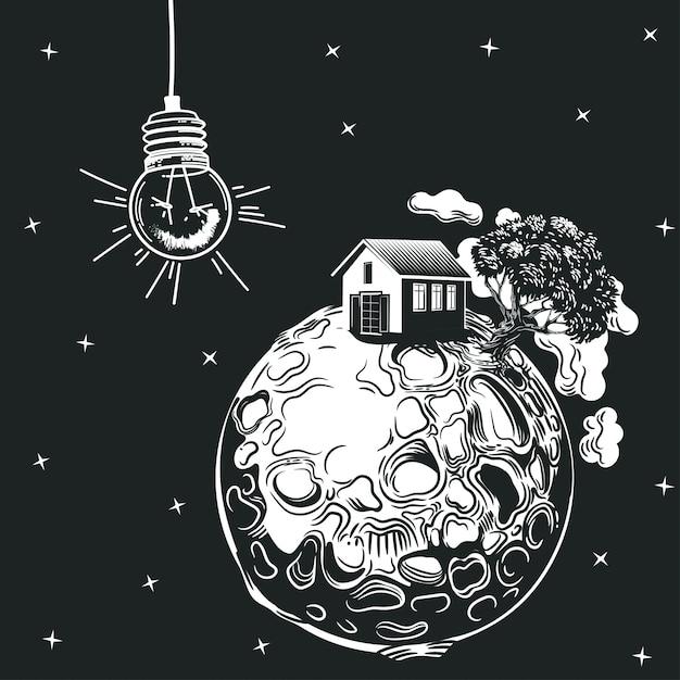 Una lampadina illumina un pianeta con una casa e un albero. Vettore Premium