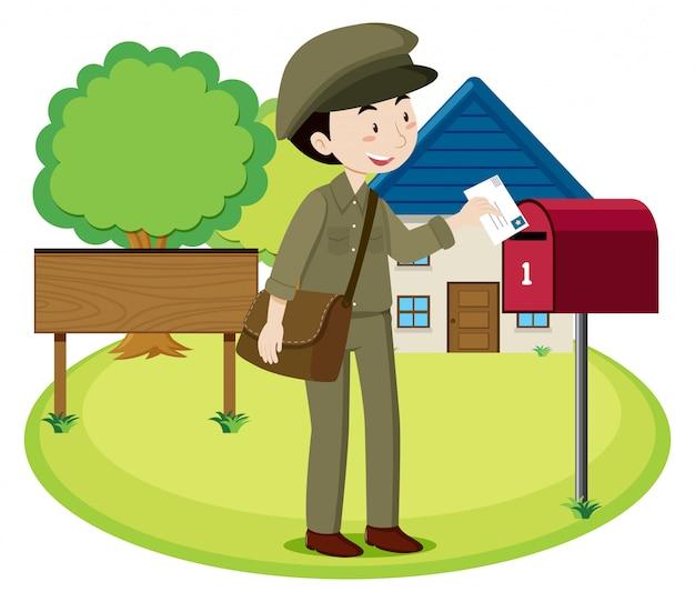 Una lettera di consegna postino Vettore Premium