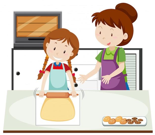 Una madre insegna alla figlia a cucinare Vettore gratuito