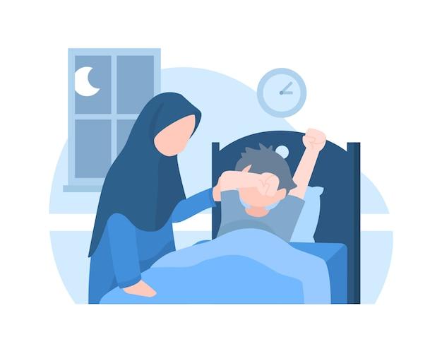 Una madre sveglia suo figlio nel mezzo della notte Vettore Premium