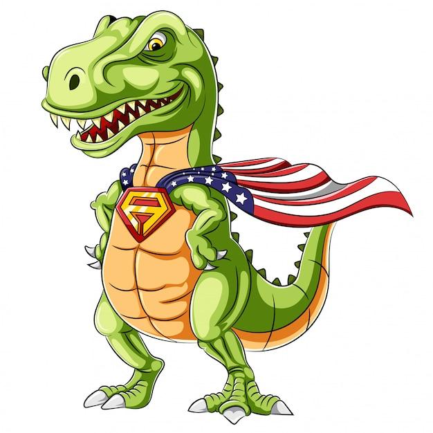 Una mascotte di dinosauri di supereroi dei cartoni animati Vettore Premium