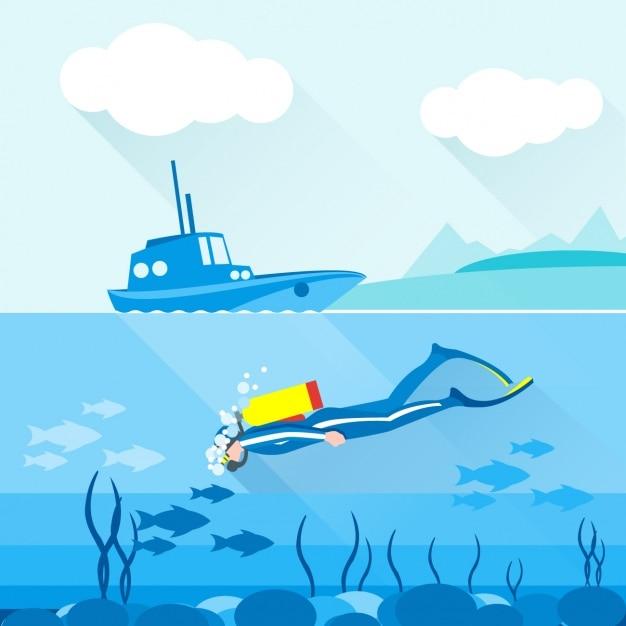 Una persona di immersione Vettore gratuito