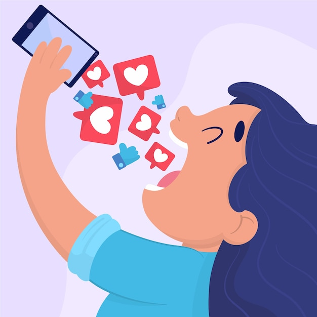 Una persona dipendente dall'illustrazione dei social media Vettore gratuito