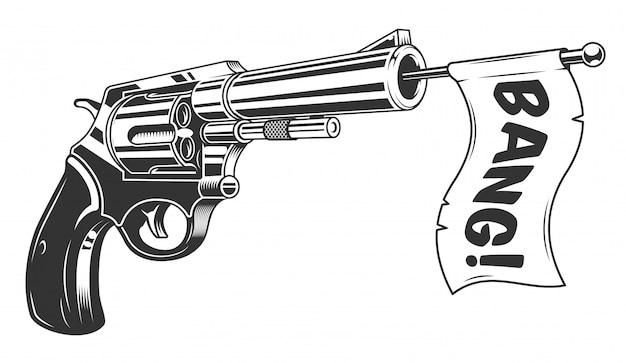 Una pistola con una bandiera di botto Vettore Premium