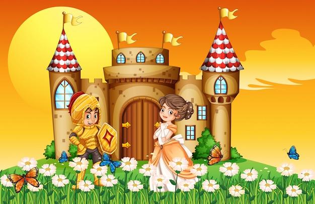 Una principessa e un cavaliere Vettore gratuito