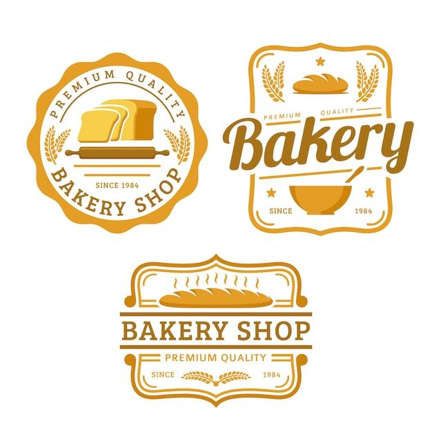 Una raccolta di modelli di logo di panetteria, set di prodotti da forno, pacchetto logo stile retrò vintage Vettore Premium