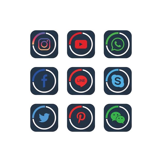 Una raccolta di modelli popolari icone social media Vettore Premium