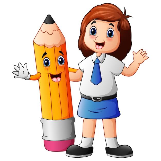 Una ragazza carina in uniforme scolastica con matita