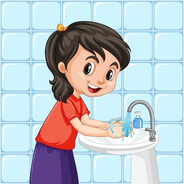 Una ragazza che pulisce le mani Vettore gratuito