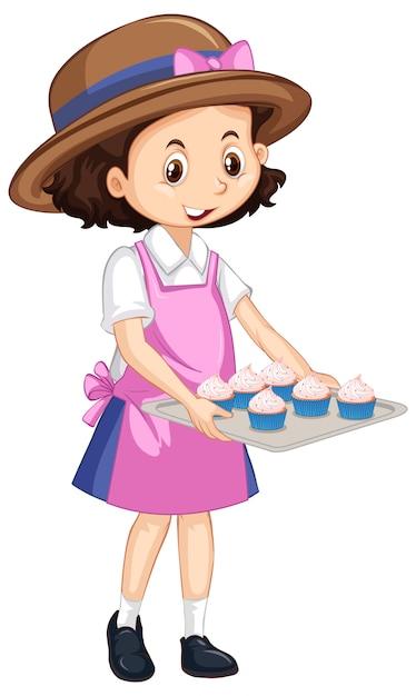 Una ragazza felice con cupcakes sul vassoio Vettore Premium
