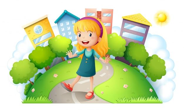 Una ragazza in cima alla collina con edifici Vettore gratuito
