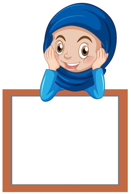 Una ragazza musulmana con banner bianco Vettore gratuito