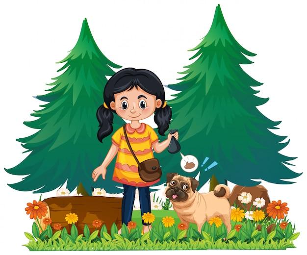 Una ragazza prende la cacca di cane Vettore Premium