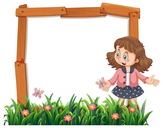Una ragazza sulla cornice in legno Vettore gratuito