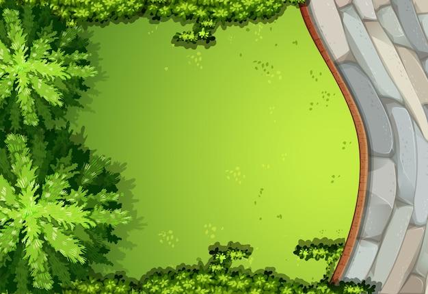 Una scena aerea di giardino Vettore gratuito