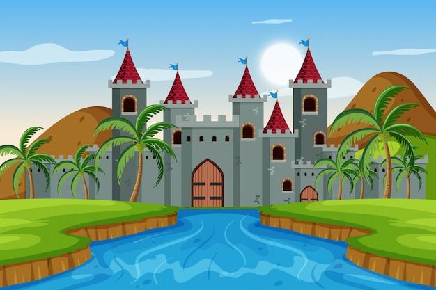 Una scena all'aperto con il castello Vettore Premium