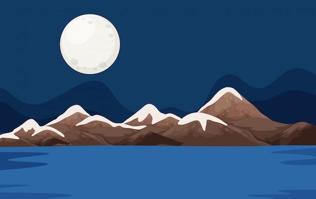 Una scena dell'oceano notturno Vettore Premium