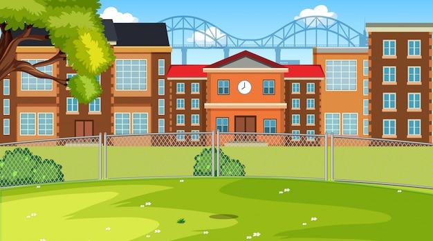 Una scena di scuola Vettore gratuito