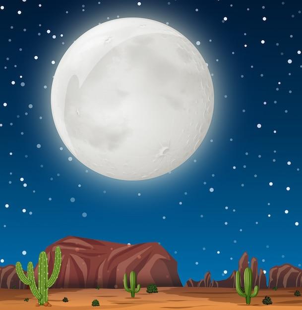 Una scena notturna nel deserto Vettore gratuito