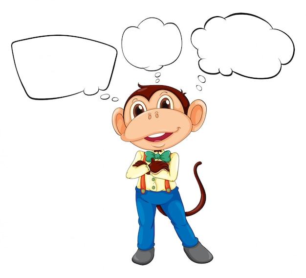 Una scimmia maschio con didascalie in bianco Vettore gratuito