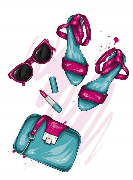 Una selezione di eleganti accessori da donna. illustrazione alla moda. vettore per biglietto di auguri o poster, stampa su vestiti. fashion style. scarpe, borsa, occhiali, cosmetici. profumo e rossetto Vettore Premium