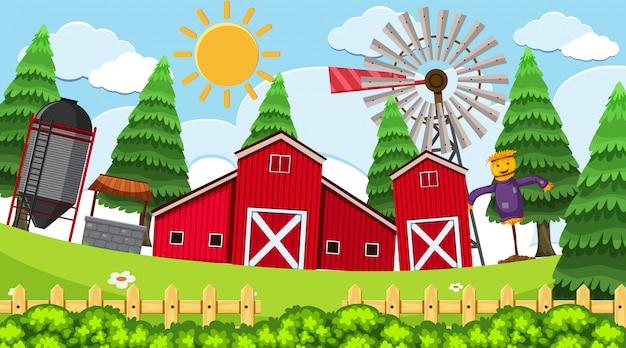 Una semplice scena di fattoria rurale Vettore Premium