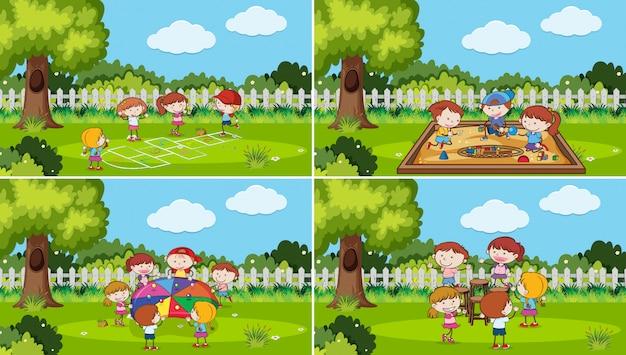 Una serie di bambini che giocano al parco Vettore Premium