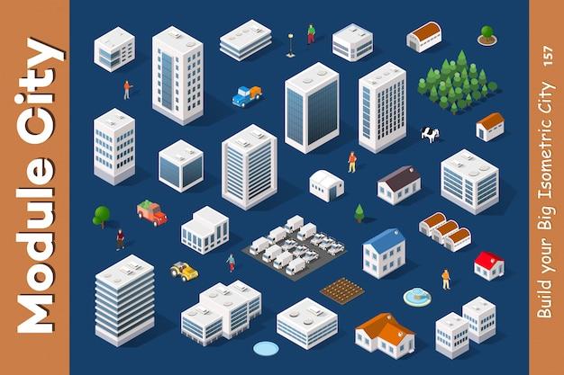 Una serie di città isometrica Vettore Premium