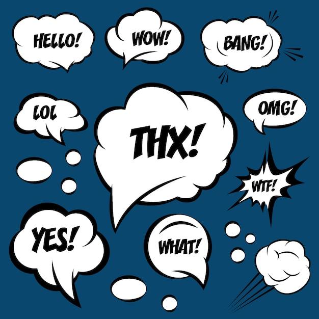 Una serie di fumetti comici con testo. omg, wtf, lol, wow Vettore Premium