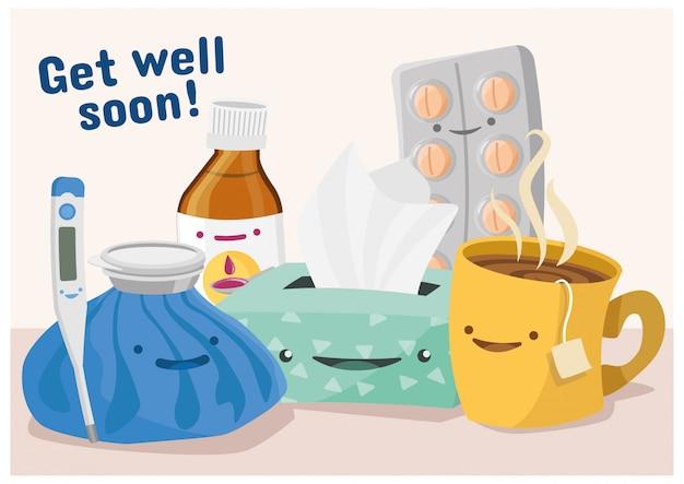 Una serie di illustrazioni di cure mediche Vettore Premium